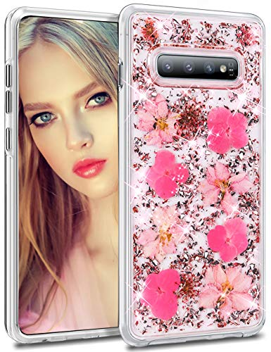 Pink Glitter Flowers - HoneyAKE Cover for Galaxy S10 Case