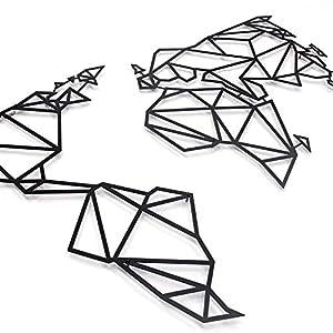 Hoagard Metal World Map Black XL   Hoagard Metal Mapa Del Mundo Negro XL   80 x 140   Arte Geométrico De Pared De Metal Y Decoración de pared   Regalo de Navidad