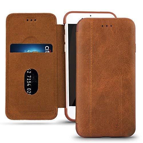 iPhone 7/7Plus Funda de piel, meanlove Slim 2Line Case Snug Fit Chasis & suave TPU Bumper duro cubierta protectora de...