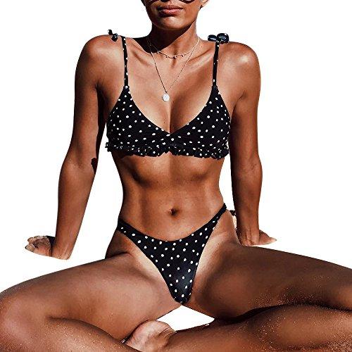 Shujin Femme Triangulaire Flounce Bikini Set Plage Point d'onde Swimwear Maillot de Bain Push Up Culotte Slip Taille Bas