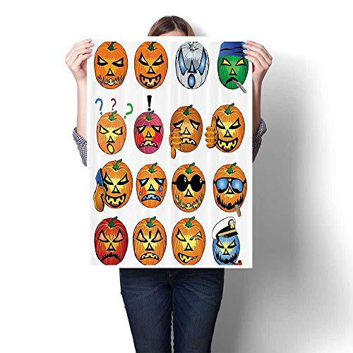 SCOCICI1588 Canvas Wall Art Large Romantic Oil Painting Carved Pumpkin with Emoji ces Halloween Humor Hipster Msters Harvest On Canvas,24