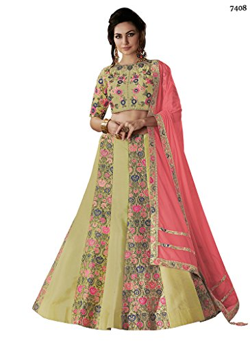 Ethnicwear Trendy Dual Tone Raw Silk Green Wedding Party Wear Resham Stone Work Lehenga Choli Chaniya Choli