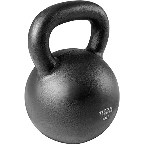 Cast Iron Kettlebell Weight 80 lb Natural Solid Titan Fitness Workout Swing