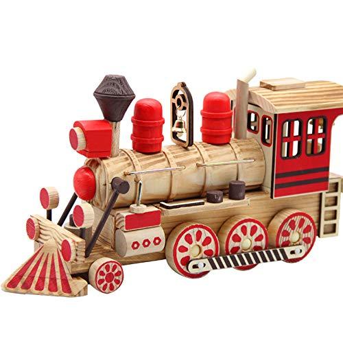 YeahiBaby Wood Railway Engine Retro Railway Engine Ornament Craft for Kid Child Baby