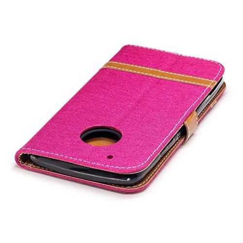 Motorola Moto G5 Plus Funda Púrpura, MEETER Libro PU Cuero Case Con Flip case cover, Cierre Magnético, Función de Soporte, Tarjeta y efectivo titular, Billetera con Tapa para Motorola Moto G5 Plus, Co Rosa
