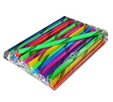 "Smoothie Straws - SUPER-WIDE! Bag of 35. Indv. Wrapped! Assorted Flourescent Colors, 1/2"" X 9"". Flat Ended, Sturdy, Safe and Sanitary."
