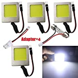 4-Pack White 450Lums Extremely Bright Non-Polarity COB 48-SMD 12V-24V DC LED Light for Auto Car Interior Lighting Panel Dome Lamp Map Roof Ceiling Lights Bulb with 4 X T10 Adapter,Festoon Adapter