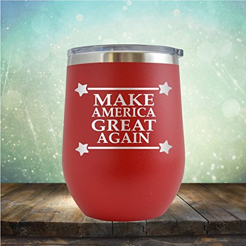 Make America Great Again - Merica - - Engraved 12 ozWine Tumbler Cup Glass Etched - Funny Gifts for him, her, mom, dad, husband, wife (Red - 12 oz)