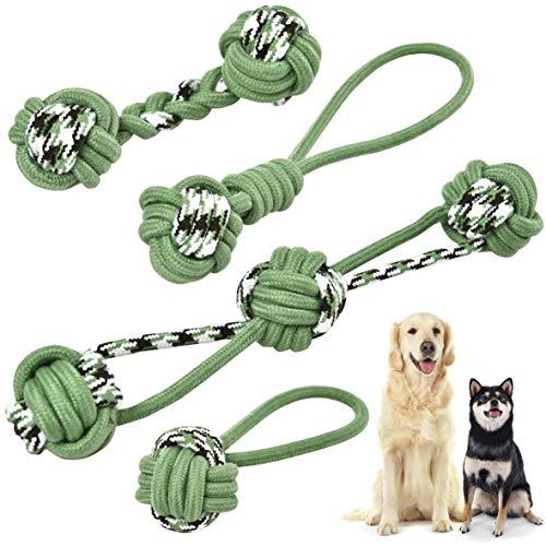 KaraLuna 4-teiliges Hunde Seilspielzeug I Für kleine, mittlere und große Hunde I Stabil & robust I Zahnpflege