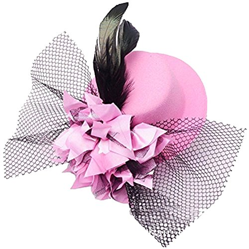 [Coolr Women's Fascinator Flower Hair Clip Feather Burlesque Punk Mini Hat Pink] (Pink Top Hats)
