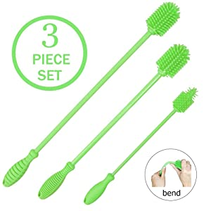 Silicone Bottle Brush Cleaner Set of 3 - Long Handle Bottle Cleaning Brushes Ideal for Narrow Neck Containers, Water Bottles, Thermos, Hydro Flasks, Coffee Mugs, Tumbler Bottles, Baby Bottles (Green)