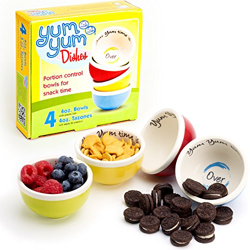 (Yum Yum Dishes™ portion control bowls serve the perfect 4-ounce snack portion to help prevent unconscious snacking and overeating. Each box contains four oven, microwave, and dishwasher safe ceramic bowls in fun, vivid colors: bold blue, pistachio green, sunshine yellow, and cherry red. Yum Yum Bowls include plastic snap-on lids to keep food fresh and make snacking on the go easy.)