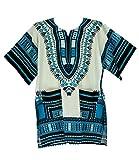 Vipada Handmade's Traditional Dashiki Shirt for men and women White and Turquoise L
