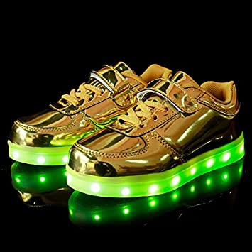 8503f6a7f6fb USB charging LED Shoes Gold Silver Fashion Light Up Shoes Lover s Luminous  Flats For Man Women