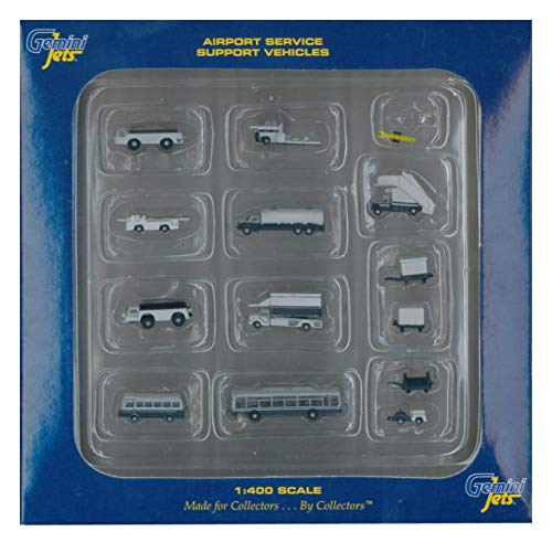Gemini Jets Ground Airport Service Support Vehicles Accessories, 1:400 Scale, 14-Piece (Renewed)
