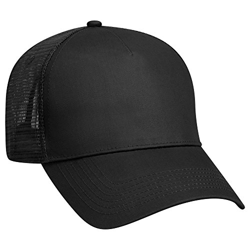 Panel Back Mesh 5 - OTTO Cotton Twill 5 Panel Low Profile Mesh Back Trucker Hat - Black