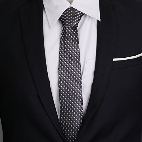 Silver LanSilk Giftbox Men Tie Hanky Set Necktie Tie Cufflinks Tie Set 100 Diamond Selection Slim Grey amp; Handmade Classic Cufflink Handkerchief Square Silk WARrdWgvS