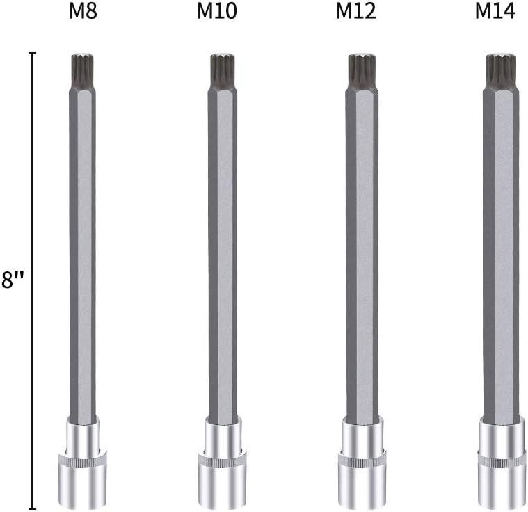 CASAR 1//2 Driver 26PCS M-type Metric Bits Extra Long Bits Socket Set Pressing Batch Socket and Extended Batch Head Set Screwdriver Twelve-angle Plum Blossom Socket Wrench CR-V