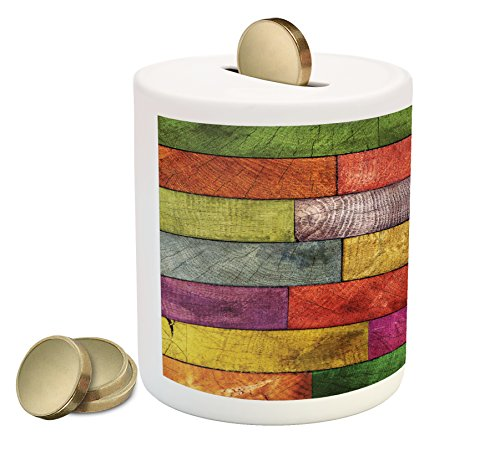 Ambesonne Rustic Piggy Bank by, Vivid Colored Several Equally Pieced Timber Construction Vertical Column Countryside, Printed Ceramic Coin Bank Money Box for Cash Saving, - Rustic Columns