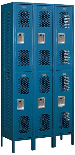Salsbury Industries 72365BL-U Double Tier 36-Inch Wide 6-Feet High 15-Inch Deep Unassembled Vented Metal Locker, Blue