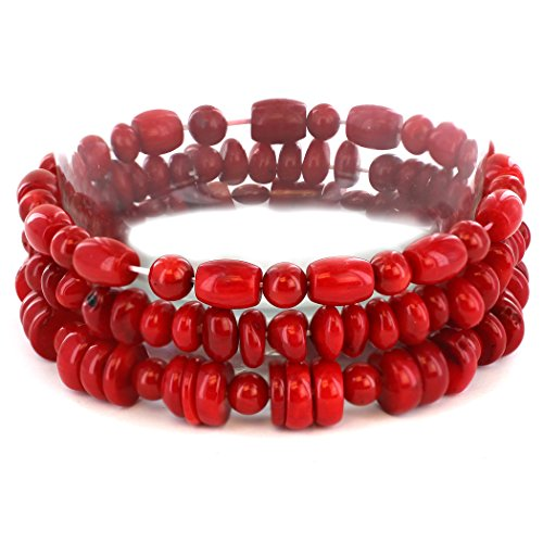 Barrel Hoop Earring Set - West Coast Jewelry | ELYA Women's Red Dyed Coral Bar and Barrel Beaded Bracelet (Set of 3)