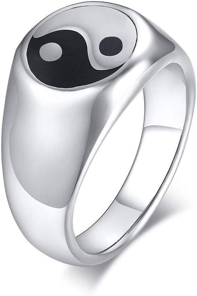 PJ Jewelry Mens Tai Chi Yin Yang Balance Ring Stainless Steel Taoism Zen Spirit Talisman Signet Band