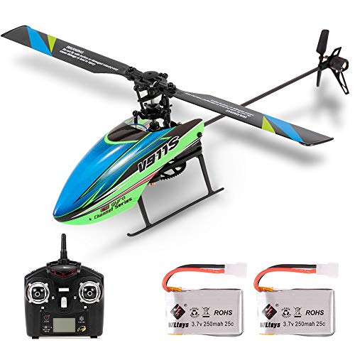Goolsky WLtoys V911S RCヘリコプター 4CH 6G 非エルロン ジャイロスコープ付き 子供用 おもちゃ (2個バッテリー) ラジコン ヘリコプター
