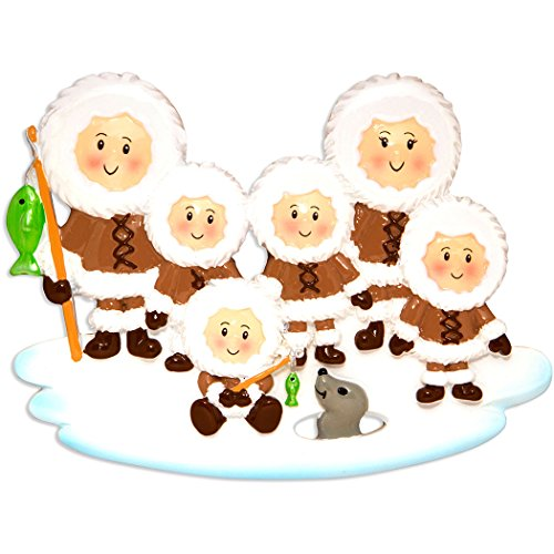 Personalized Name Ornament (Personalized Eskimo Family of 6 Christmas Ornament - Parent Friends in Brown fishing on Ice Seal - First Holiday Winter Tradition Grand-children Kids Alaska Cold Canada - Free Customization (Six))