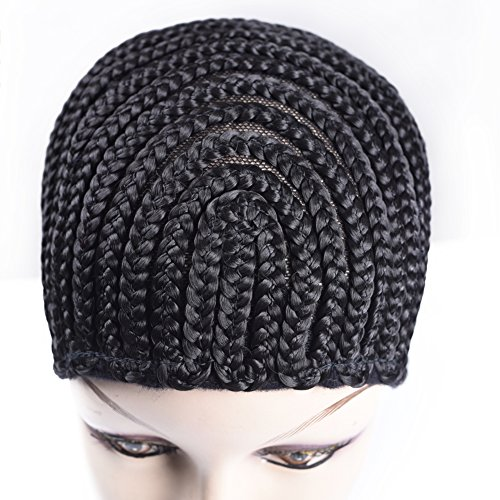 Crochet Stretch Cap (TOMO Braided Wig Caps Crotchet Cornrows Cap For Easier Sew In Caps for Making Wig Glueless Hair Net Liner Crochet Wig Caps)