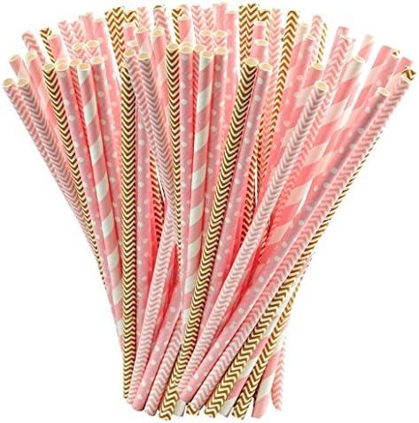 Rbenxia 100 pajitas desechables de papel biodegradable para ...