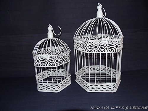 Exquisite Birdcage Hanging Planter, Shabby Chic, White Wrought Iron Set of 2 large size 16.5 inch high