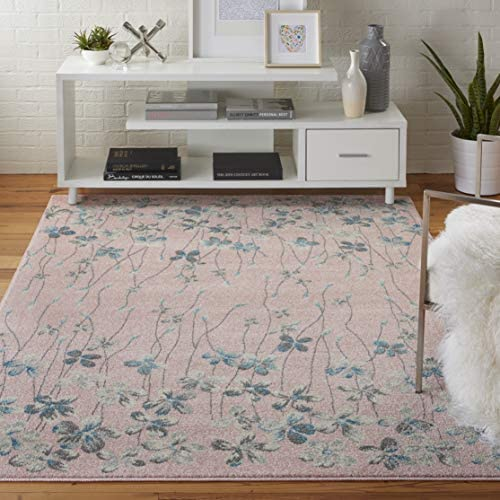 Nourison TRA04 Tranquil Bohemian Floral Pink Area Rug 6' X 9'