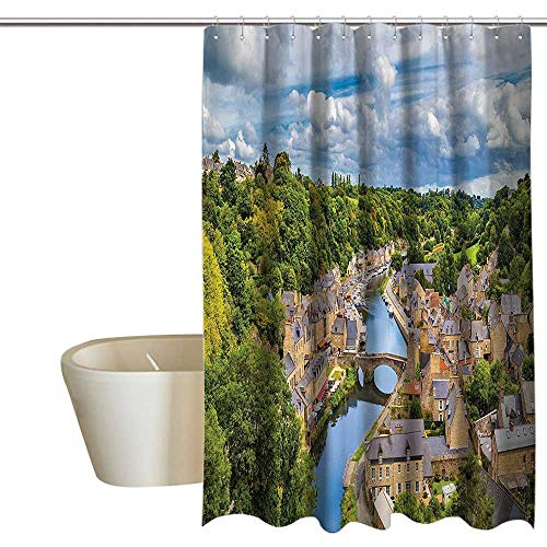 """Price comparison product image Wanderlust Decor Collection Funny Shower Curtain Dramatic Clouds Over Ancient Town of Dinan Rance River Northwestern France Landscape Print Non Toxic, Eco-Friendly 55"""" Wx84 L Green"""
