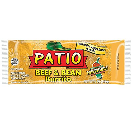 J and J Snack Patio Medium Beef and Beans Burrito, 5 Ounce -- 24 per case (Beef Patio)
