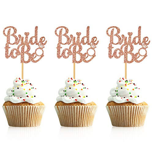 Donoter 36 Pcs Glitter Bride to Be Cupcake Toppers Bridal Shower Bachelorette Party Table Decorations]()