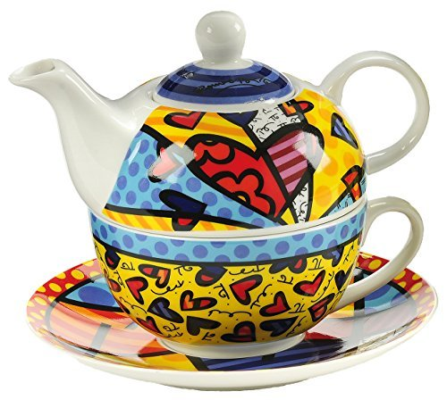 New Bone China, Tea for One Set by Romero Britto — Gift Boxed, A New Day Design
