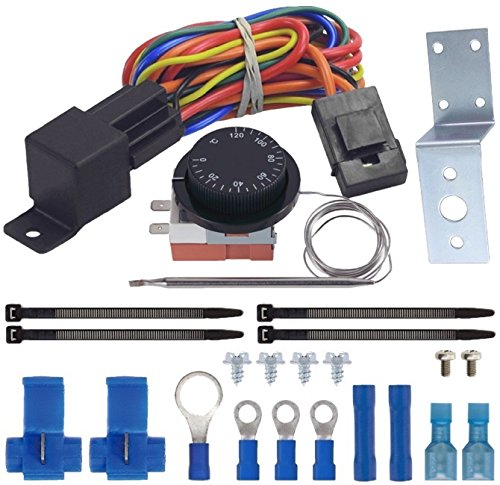 American Volt Adjustable Thermostat Dual Electric Fan Wiring Install Kit 40a Relay Auto Switch (Switch Dual Wiring)
