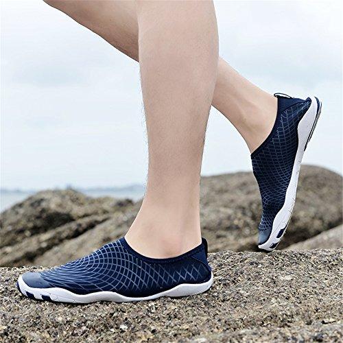 kissavi Badeschuhe Schwimmschuhe Damen Herren Aquaschuhe Surfschuhe,Sommer Wasserschuhe Barfuß Schuhe Rutschfeste Neoprenschuhe Blau-K