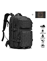 Coolton Tactical Backpack Black, Military Army Molle Backpack / Tactical Military Bag / Hiking Backpack Daypack / Bug Out Bag / Rucksack Backpack for Men 40L with Flag Patch