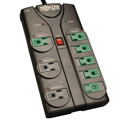 Tripp Lite 8 Outlet Eco-Surge Protector Power Strip 6ft Cord Right Angle Plug Diagnostic LEDs ()