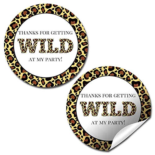 Leopard Print Themed Birthday Party Thank You Sticker Labels, 40 2