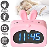 LED Alarm Clock, Sound Control Digital Desk Clock with USB for Bedroom Office Display Date Indoor Temperature, Snooze Dual Alarm with Removable Rabbit Soft Silicon Cover School for Kids Girls (Pink)
