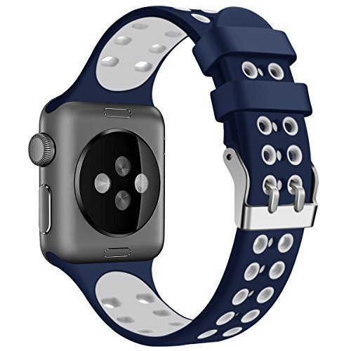 Blue White Sport Edition Band for Apple Watch 38mm 42mm,Soft Silicone Sport Waterproof Strap Replacement Bands with Square Stainless Steel Dual Buckles for iWatch Apple Watch Series 3/2/1,Nikon+