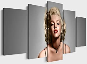 YOUHONG Vintage Mari-lyn-Mon-roe Wall Decor 5 Piece Red Lips Mon-roe Painting Prints on Inspirational People Canvas Artwork Framed for Living Room Bedroom Decor (60''W x 32''H)