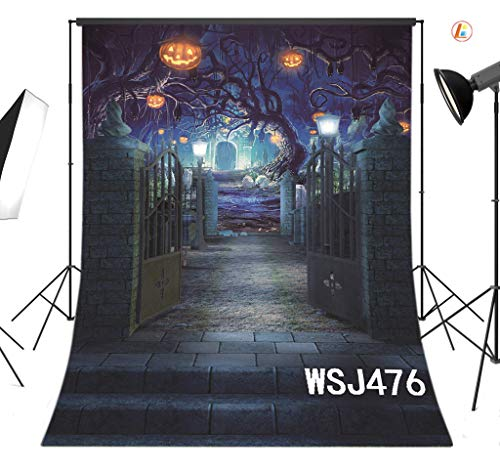 LB Halloween Photography Backdrop 5X7ft Fabric Gate to The Spooky Forest Backdrop Halloween Party Decorations Photo Background,Seamless Washable