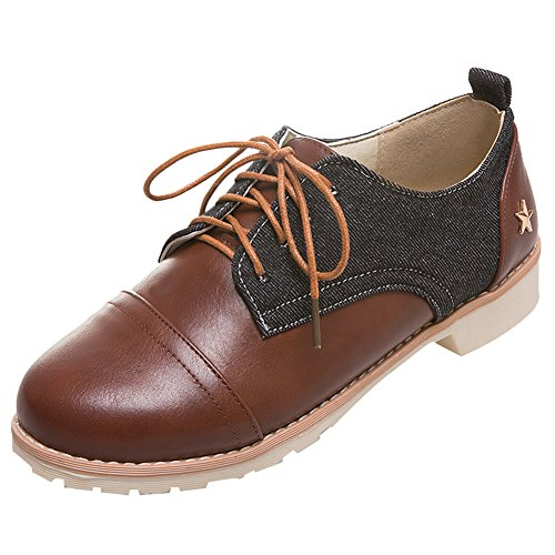 Show Shine Womens Color Matching Lacing Up Chunky Heel Oxfords Shoes Black ytFmqbj
