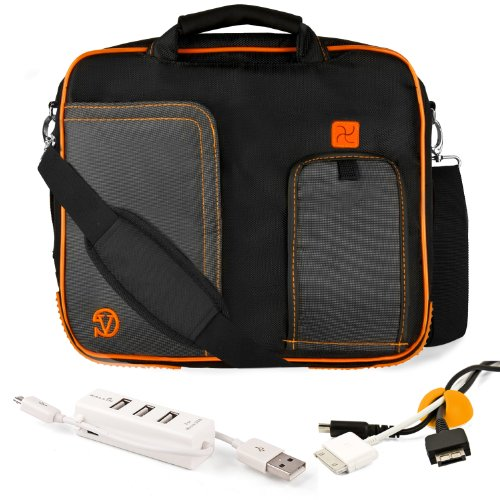 ORANGE TRIM BLACK Pindar Durable Water-Resistant Nylon Protective Carrying Case Messenger Shoulder Bag For SONY VAIO T Series 13.3-Inch Touchscreen Ultrabook + Yellow Cable Organizer + White 3 Port USB HUB with Micro USB Charger (Laptop Sony Vaio I5 White)