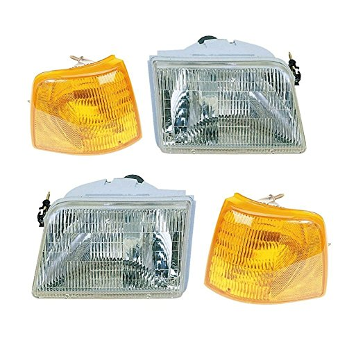 Chrome Headlights & Corner Parking Lights L/R Pair for 93-97 Ford Ranger -
