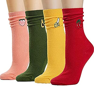 AngelKelly Womens Casual Crew Socks Colored Cute Cotton 3D Fruit Embroidery Hosiery