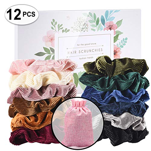 CENTSTAR 12 Pcs Premium Corduroy Velvet Hair Scrunchies Hair Bands Scrunchy Hair Ties Ropes Scrunchie for Women or Girls Hair Accessories with collection bags (12 Pcs Corduroy Velvet Scrunchies)
